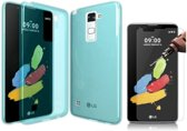 Teleplus LG Stylus 2 Silicone Case Blue + Glass Screen Protector hoesje