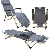 Ligstoel 178x65cm Tuinbank 150kg opklapbare bank, verstelbare camping bank met kussen grijs