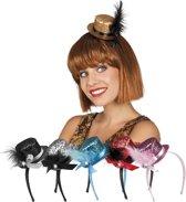 18 stuks: Tiara mini hat Glitter in 6 kleuren - assorti