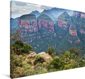 De Afrikaanse Three Rondavels bij Blyde River Canyon in Zuid-Afrika Canvas 120x80 cm - Foto print op Canvas schilderij (Wanddecoratie woonkamer / slaapkamer)