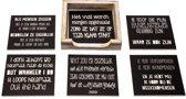 Originele Grappige Onderzetters Zwarte Set 10, 6 stuks met een houder van FSC-gecertificeerd hout