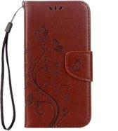 Voor ASUS Zenfone Go ZB500KL Pressed Bloemen patroon horizontaal Flip lederen hoesje met houder & opbergruimte voor pinpassen & portemonnee(bruin)