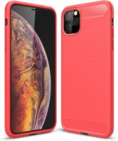 Mobigear Brushed Carbon Fiber Shockproof Hoesje Rood iPhone 11 Pro Max