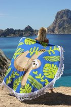 Mycha Ibiza – roundie – rond strandlaken – luiaard – blauw – 100% katoen – franje