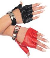 Leg Avenue 2166 Harley Quinn  Harlekijn handschoenen met studs - 1 rood, 1 zwart (O/S)