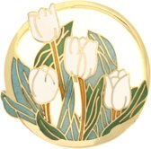 Behave®  Broche tulpen wit emaille