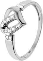 Lucardi 14 Karaat Witgouden Ring - Diamant Hart - Maat 55