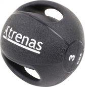 Trenas Medicijnbal - Medicine bal met dubbele handgrepen- Medicine bal Dual Grip - 3 kg - Zwart - (Professioneel gebruik)