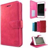 Roze Wallet / Book Case / Boekhoesje / Telefoonhoesje / Hoesje Samsung Galaxy S7 SM-G930 met vakje voor pasjes, geld en fotovakje
