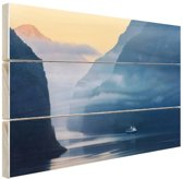 Fjorden in Noorwegen zonsopkomst Hout 120x80 cm - Foto print op Hout (Wanddecoratie)