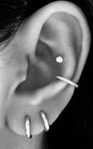 925 zilver - Oorringen geschikt voor 2de of 3de oorgaatjes - 8mm - mini oorringen
