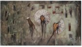 Schilderij - Paardenbloemen in verschillende stadia
