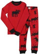Kinderpyjama LazyOne Classic Moose Red met bedrukte broek - 128
