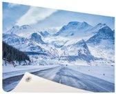 Besneeuwde bergen Tuinposter 120x80 cm - Tuindoek / Buitencanvas / Schilderijen voor buiten (tuin decoratie)