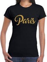 Paris gouden glitter tekst t-shirt zwart dames M