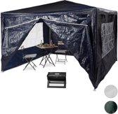 relaxdays partytent 3x3 m, party tent 4 zijwanden, gesloten, metaal, paviljoen