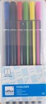 Office Essentials Fineliner 12 stuks 0.55 mm 12 Kleuren.
