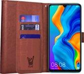 iCall - Huawei P30 Lite Hoesje - Lederen TPU Book Case Portemonnee Flip Wallet - Bruin