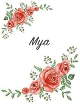 Mya: Personalized Composition Notebook - Vintage Floral Pattern (Red Rose Blooms). College Ruled (Lined) Journal for School
