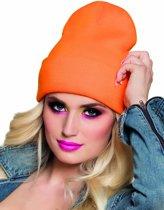 Fluo oranje muts voor volwassenen - Verkleedhoofddeksel