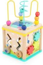Kralenspiraal met vormenstoof - Activiteitenkubus voor de motoriek - Olifant en de muis - Hout speelgoed vanaf 1 jaar