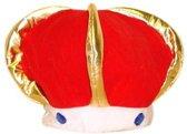 Pluche koningskroon rood voor volwassenen