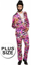 Grote maten 80s kostuum roze 56 (2xl)