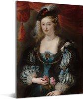 Portret van een vrouw - Schilderij van Peter Paul Rubens Aluminium 120x160 cm - Foto print op Aluminium (metaal wanddecoratie) XXL / Groot formaat!