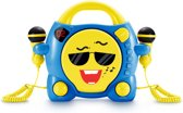 Draagbare cd-speler met 2 karaoke microfoons - Blauw met Geel