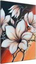 Schilderij handgeschilderd Magnolia   Bruin , Zwart , Oranje   70x120cm 1Luik