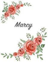 Marcy: Personalized Composition Notebook - Vintage Floral Pattern (Red Rose Blooms). College Ruled (Lined) Journal for School
