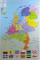 Poster Nederland provincie map kaart  61 x 91 cm - Aardrijkskunde/topografie thema posters - Wanddecoratie/Muurdecoratie