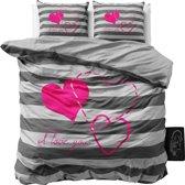 Sleeptime I Love You  - Dekbedovertrekset - Lits-Jumeaux - 240x200/220 + 2 kussenslopen 60x70 - Antraciet