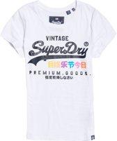 Superdry Premium Goods Puff  Sportshirt - Maat S  - Vrouwen - wit/navy/roze