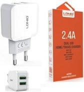 Oplaad Stekker met DUAL 2 USB POORT ADAPTER OPLADER