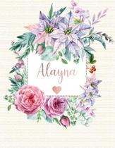 Alayna: Floral Personalized Lined Journal with Inspirational Quotes