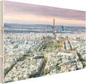 Luchtfoto Parijs met de Eiffeltoren Hout 120x80 cm - Foto print op Hout (Wanddecoratie)