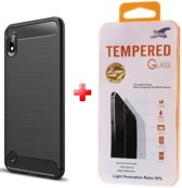 Silicone TPU gel zwart hoesje Samsung Galaxy A10 met glas screenprotector
