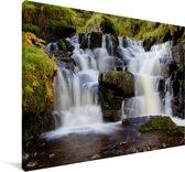 Watervallen bij het Nationaal park Brecon Beacons in Wales Canvas 90x60 cm - Foto print op Canvas schilderij (Wanddecoratie woonkamer / slaapkamer)