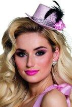 Roze mini hoedje jaren 20 voor vrouwen - Verkleedhoofddeksel