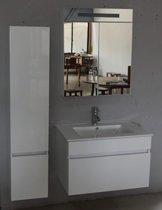 Excellent Wellness Badkamermeubel WB008, 70 cm, Kleur hoogglans wit met  Keramieke Wasbak, Kolomkast en Spiegelkast met LED verlichting