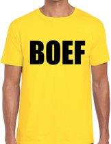 BOEF tekst t-shirt geel voor heren - heren feest t-shirts 2XL