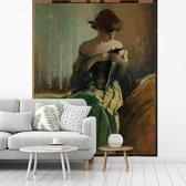 Fotobehang vinyl - Study in Black and Green - Schilderij van John White Alexander breedte 300 cm x hoogte 360 cm - Foto print op behang (in 7 formaten beschikbaar)