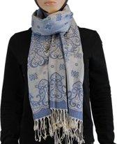 Sjaal / Shawl / Omslagdoek 100% Pashmina Donkerblauw Multi Color