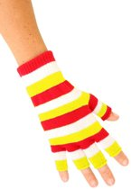 Vingerloze handschoenen rood/wit/geel smalle strepen