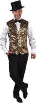Glitter & Glamour Kostuum | Gilet Showmaster Sterren Pailletten Goud Man | Medium / Large | Carnaval kostuum | Verkleedkleding