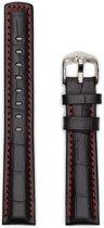 Hirsh Horlogeband -  Grand Duke Zwart Rood Stiksel - Leer - 22mm