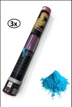 3x Kleuren poeder Shooter 40 cm blauw