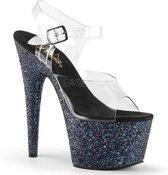 EU 36 = US 6 | ADORE-708LG | 7 Heel, 2 3/4 PF Ankle Strap Sandal w/ Holo Glitter Bottom