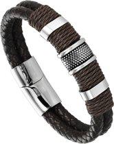 Victorious - Donkerbruin Leren Armband - Zilverkleurig RVS  - Heren - 22 cm